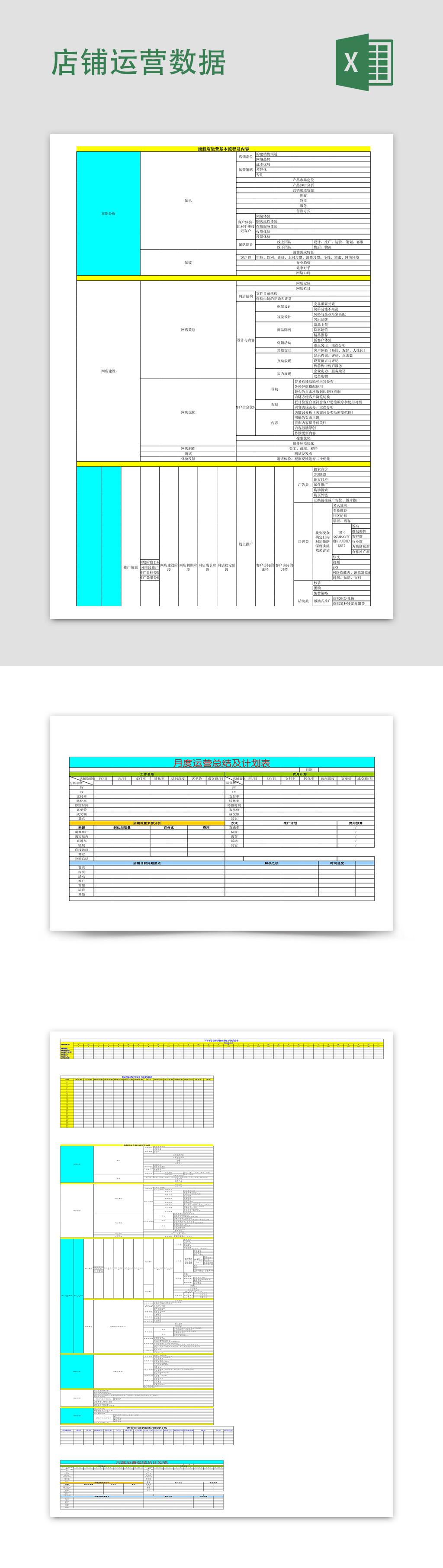 网店销售季度月度统计分析表Excel模板